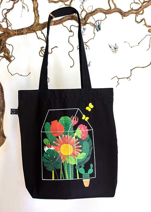 Blumenglashaus Baumwolltasche schwarz 1