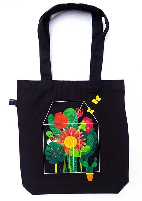 Blumenglashaus Baumwolltasche schwarz 2