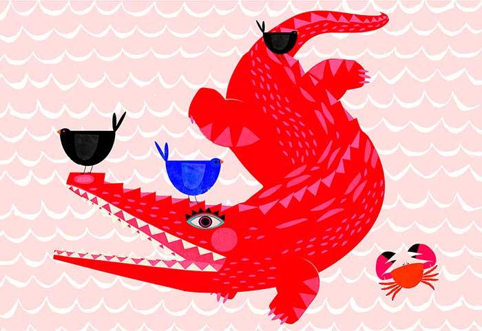 Surealle Welt rotes Krokodil