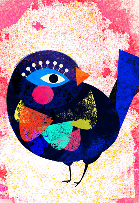 Blauer Vogel - Limitierte Edition Kunstdruck