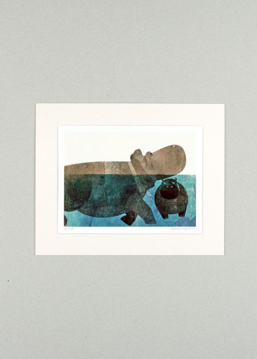 Flusspferd - Limitierte Edition Kunstdruck