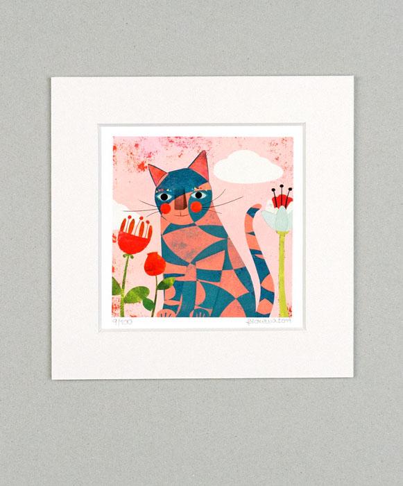 Katze Karo-Look - Limitierte Edition Kunstdruck