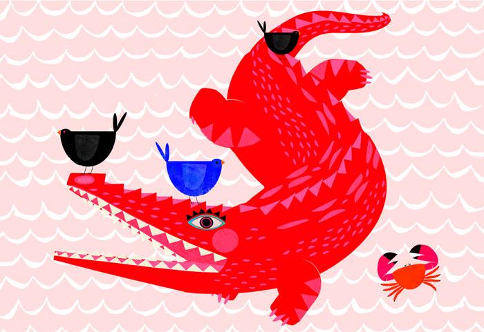 Rotes Krokodil - Limitierte Edition Kunstdruck