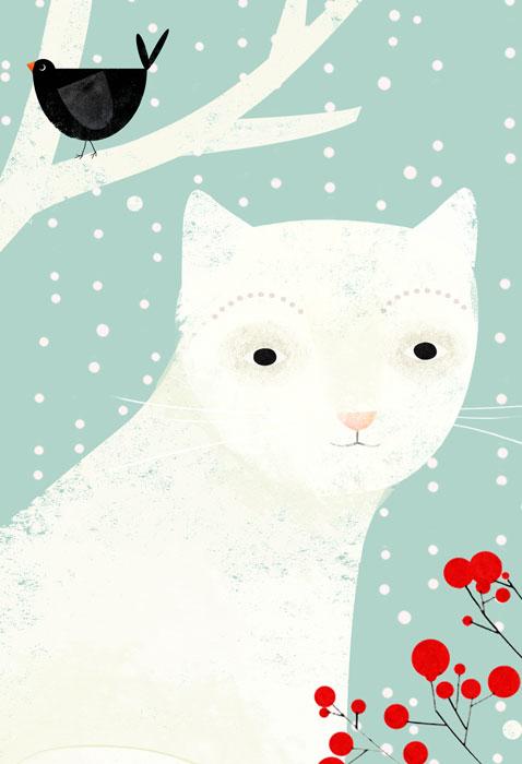 Schneekatze - Limitierte Edition Kunstdruck